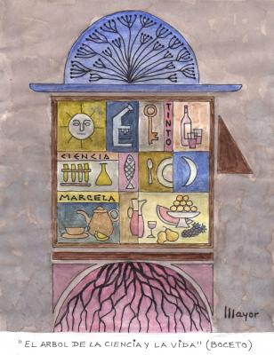 El Árbol de La Ciencia y La Vida, de Álvaro Mayor (boceto del cuadro expuesto)
